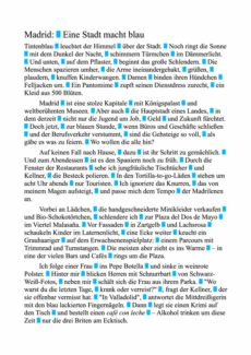 "Text ""Madrid"" zum fraktionierten Sprechen"