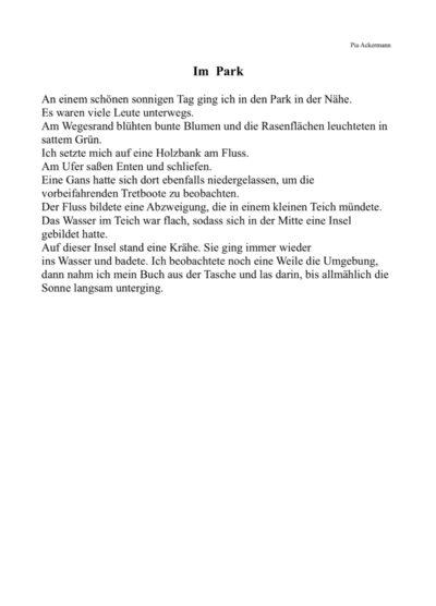 Lesetext: Im Park