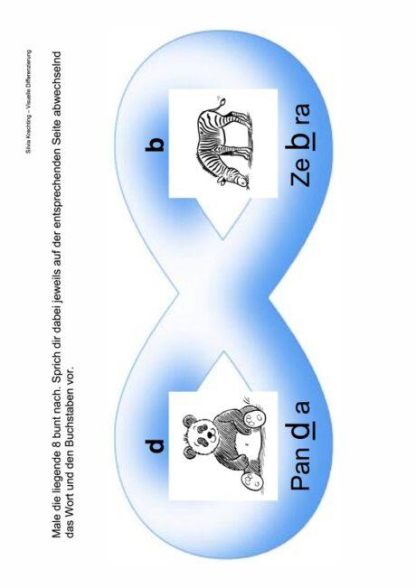 Arbeitsblatt zur visuellen Differenzierung b und d