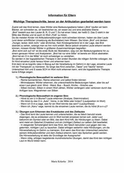 Informationsblatt zur phonologischen Therapie