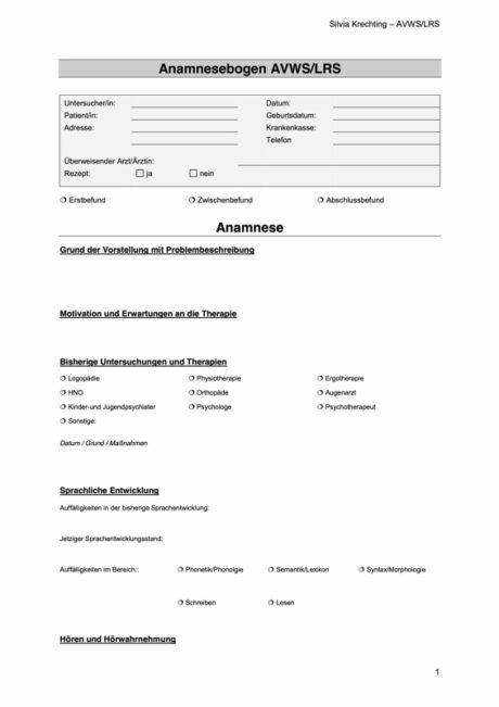 Anamnesebogen für AVWS und LRS