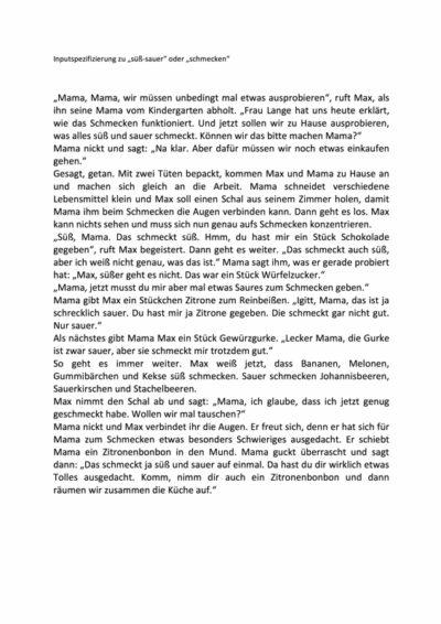 """Inputspezifizierung für """"süß-sauer"""" und """"schmecken"""""""