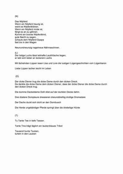 Sätze und Verse zu Alveolarlauten
