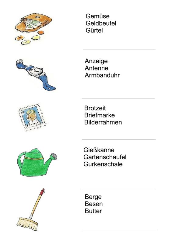 Arbeitsblätter Alltagsgegenstände