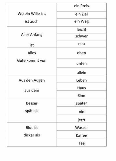 Sprichwörter ergänzen (3)