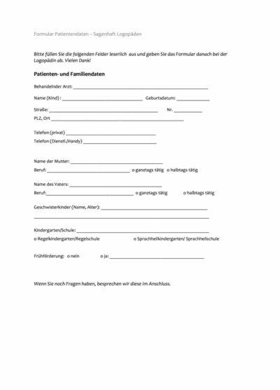 Formular für Patientendaten Kinder