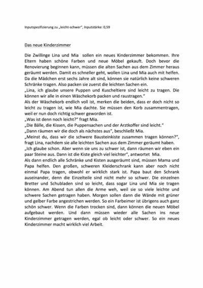 "Inputspezifizierung ""leicht-schwer"""