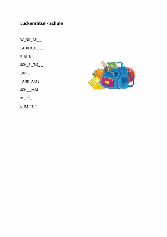 Lückenrätsel Schulmaterial