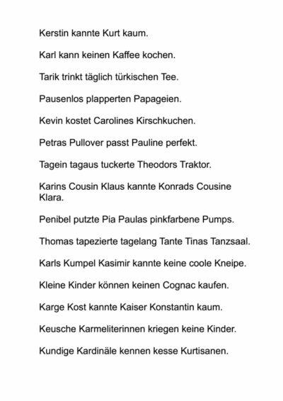 Sätze aus Wörtern mit k-, p-, t- Anlaut