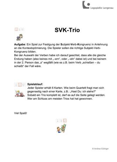 Trio Subjekt-Verb-Kongruenz