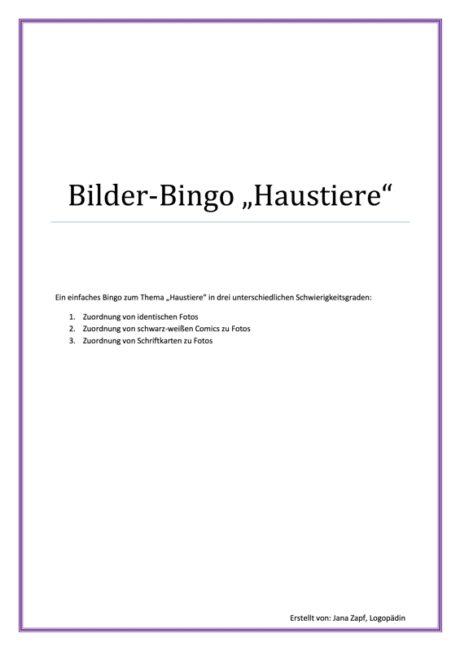 """Bilder-Bingo """"Haustiere"""""""