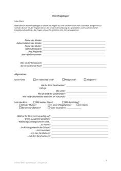 Elternfragebogen zur Anamnese