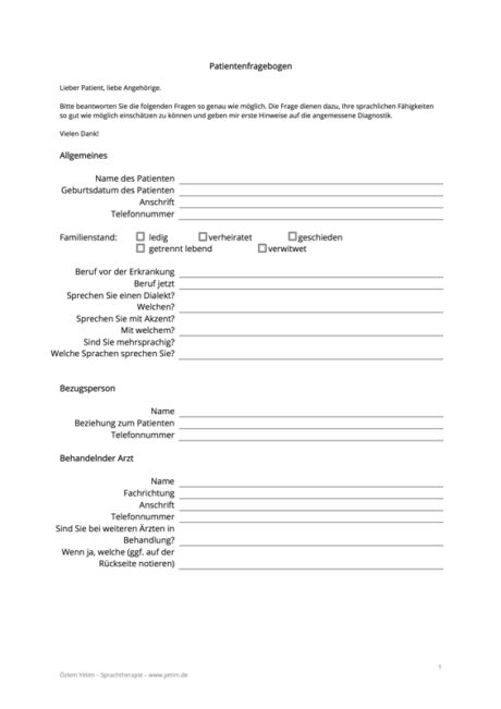 Patientenfragebogen zur Anamnese