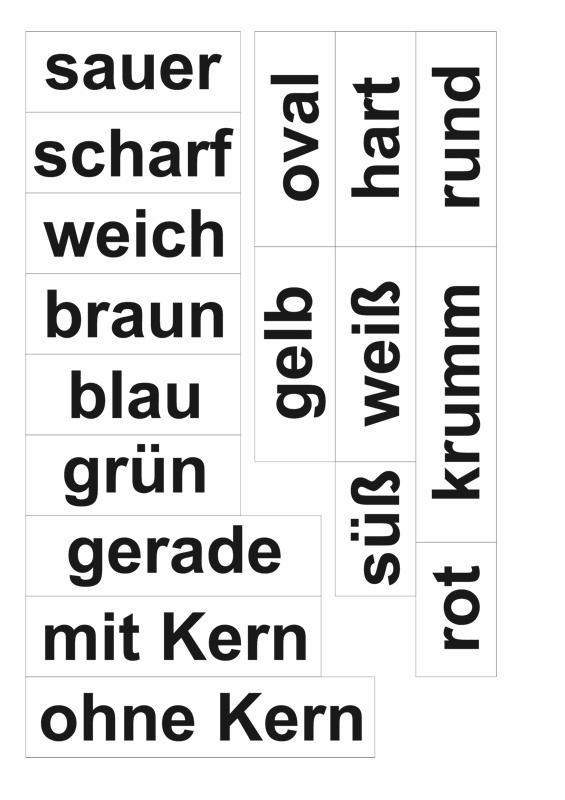 Wortkarten Adjektive Obst und Gemüse
