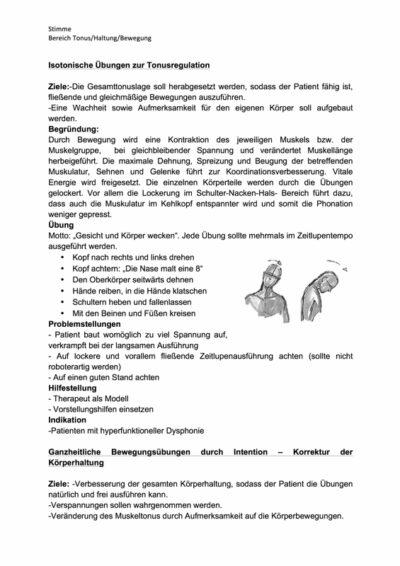Isotonische Übungen zur Tonusregulation