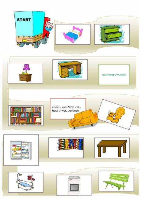Spielplan im semantischen Feld Möbel