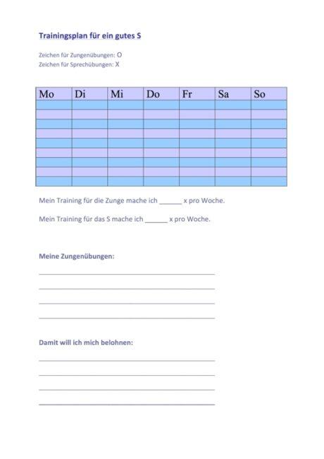 Sigmatismus Trainingsplan