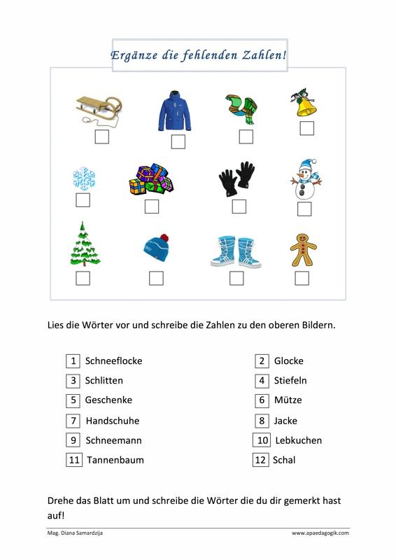 Winterzeit – Zahlen ergänzen