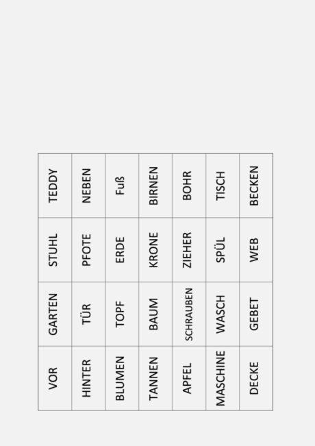 Wortkarten für Komposita