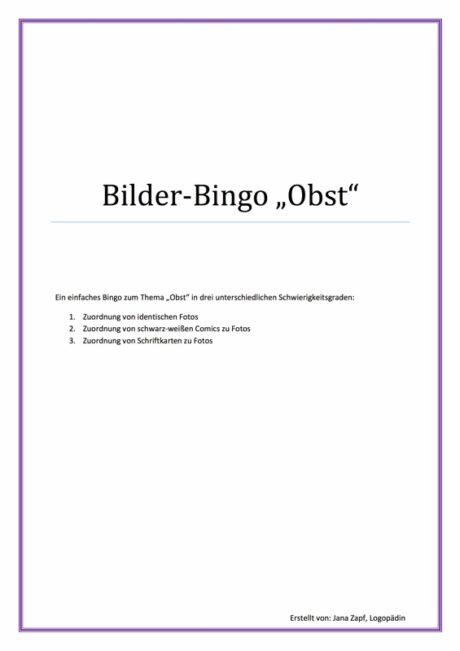 """Bilder-Bingo """"Obst"""""""