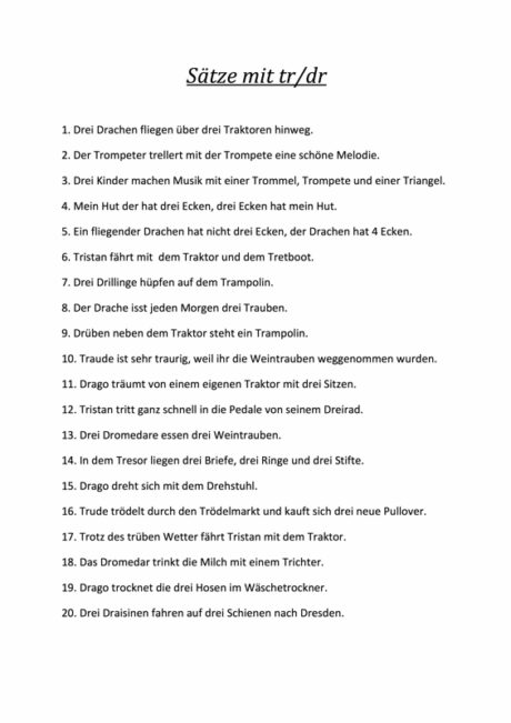 Sätze Konsonantenverbindung TR und DR