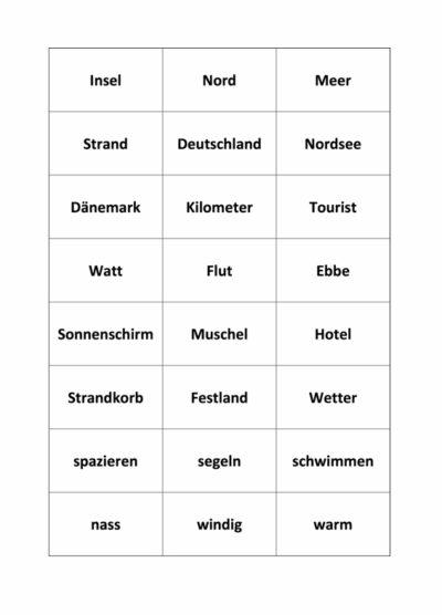 Wortkarten zu Sylt