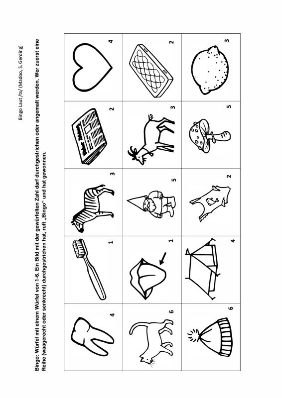 Sammlungen mit Bingo Laut /ts/ - Dyslalie - madoo.net