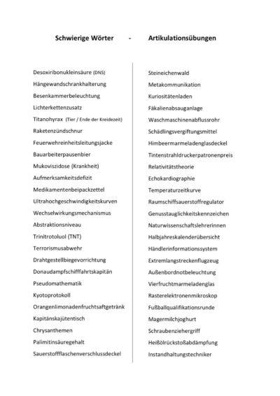 Artikulation: schwierige Wörter
