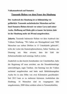 "Textarbeit ""Vulkanausbruch auf Sumatra"""