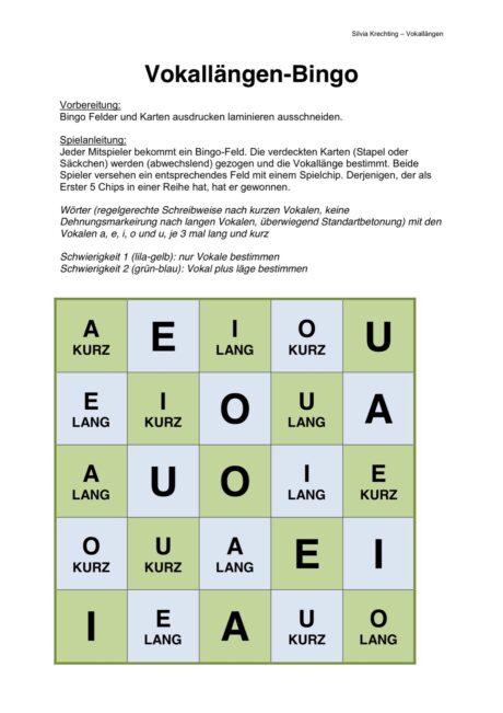 Vokallängen-Bingo