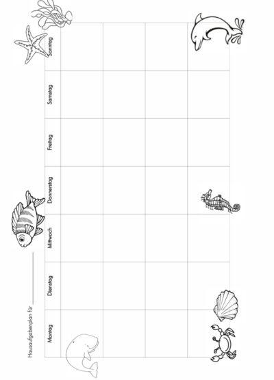 Hausaufgabenplan Meer