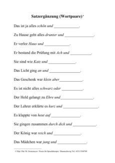Wortpaare als Satzergänzung