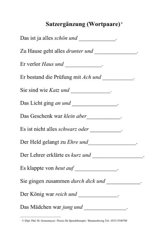 Sammlungen mit Wortpaare als Satzergänzung - Aphasie - madoo.net