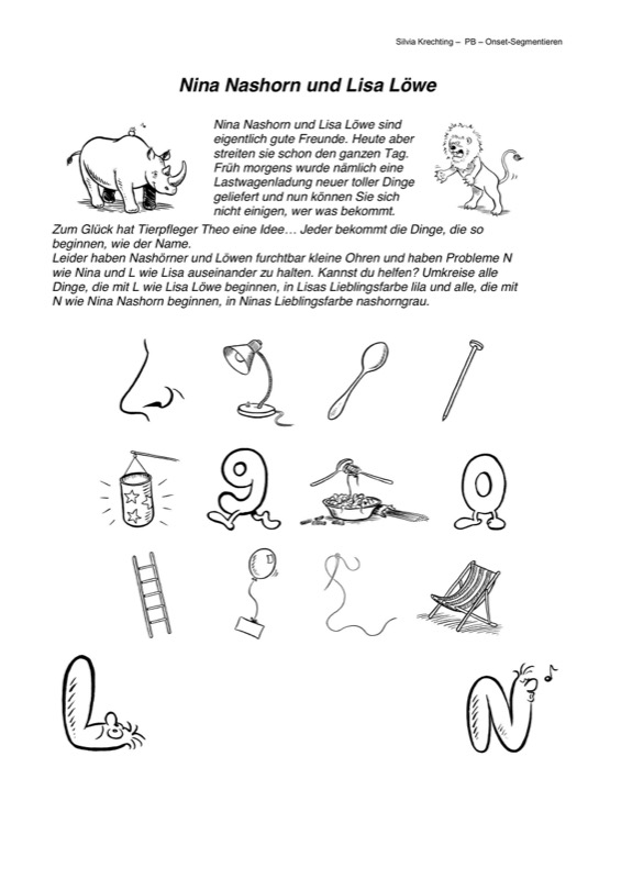 Arbeitsblatt Nina Nashorn Und Lisa L 246 We Artikulation