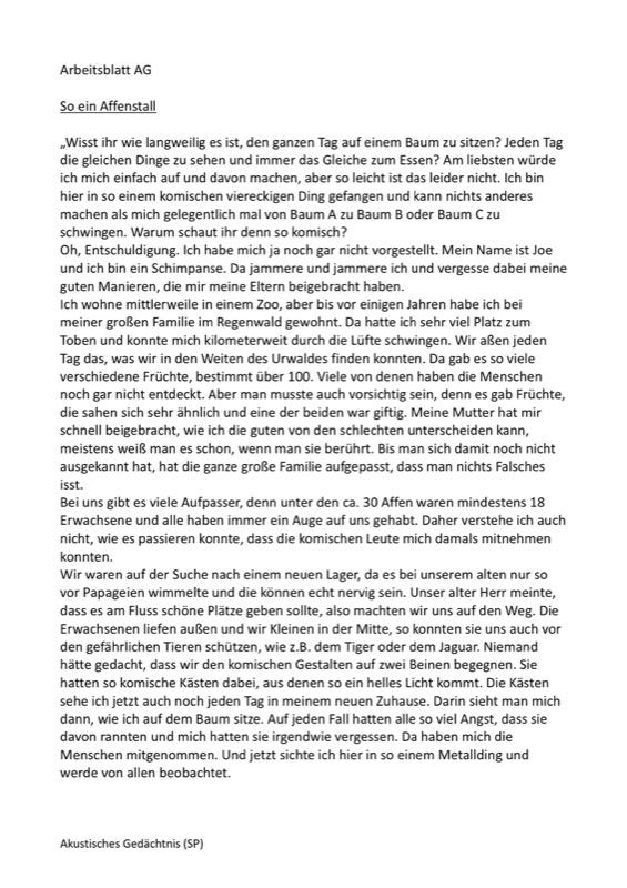 Arbeitsblatt: Affengeschichte - SES - madoo.net