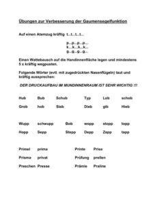 Gaumensegelkräftigung mit Wortliste