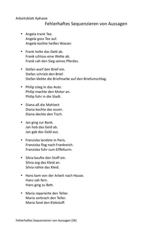 Sammlungen mit Sequenzieren von Aussagen - Aphasie - madoo.net
