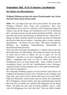 """Textarbeit """"Der Meister der Riesenkürbisse"""""""