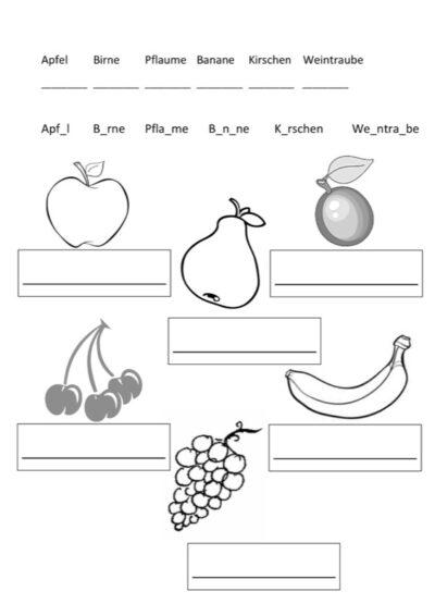 Schriftsprache im semantischen Feld Obst