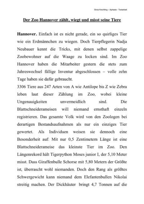 """Textarbeit """"Der Zoo Hannover"""""""