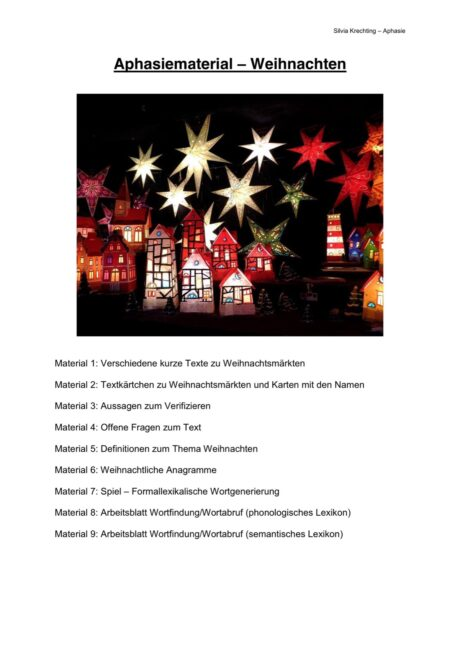 Aphasiematerial zum Thema Weihnachten - Aphasie - madoo.net