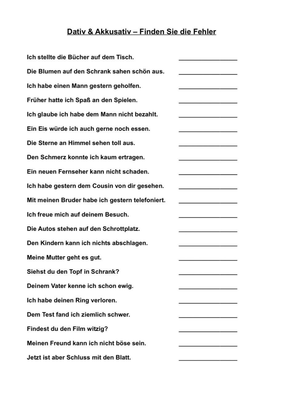 Akkusativsätze Bilden 100 Typische Deutsche Sätze – Tintnwrap