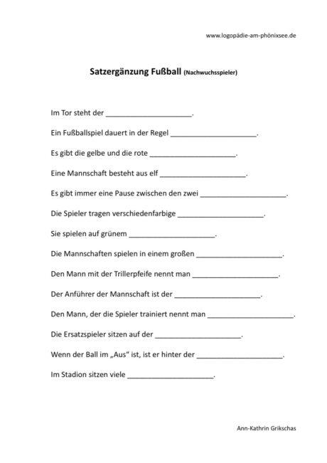 Satzergänzung Fußball (2)