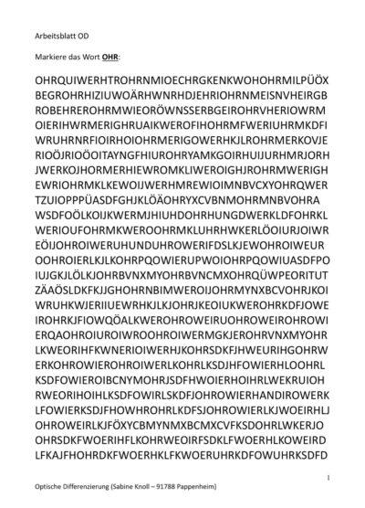 Wörter finden im Suchsel