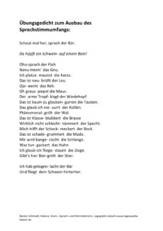 Übungsgedicht zum Ausbau des Sprechstimmumfangs