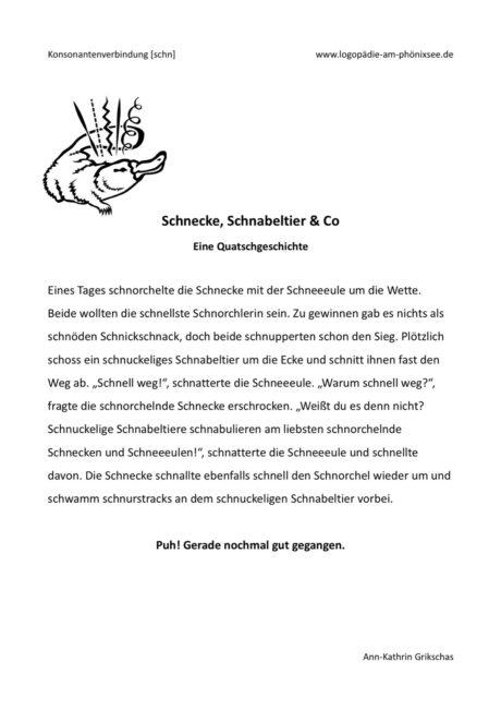 Schnecke, Schnabeltier & Co