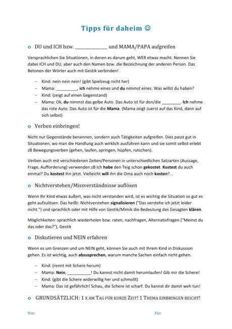 Infoblatt Frühe Sprachförderung