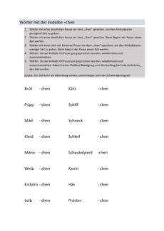 Wortliste mit der Endsilbe – chen