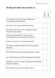 LöweTextarbeit: Löwen-Population in Gefahr