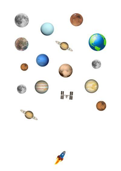 Planeten und Rakete